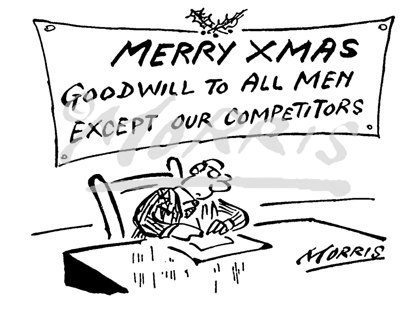 Business Christmas cartoon Ref: 0965bw