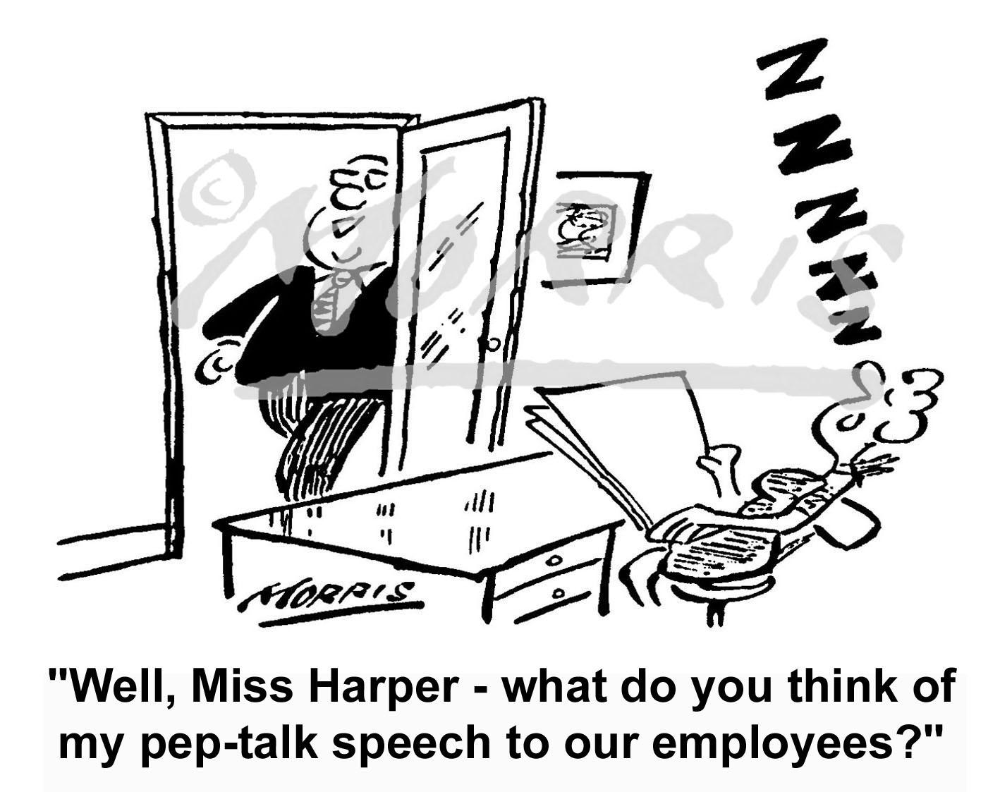 Motivation speech to employees cartoon Ref: 1181bw