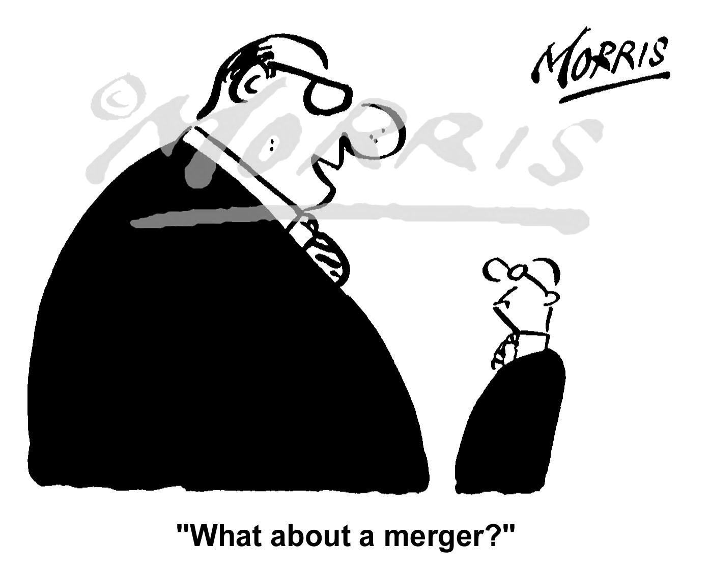 Company business merger comic cartoon Ref: 1222bw