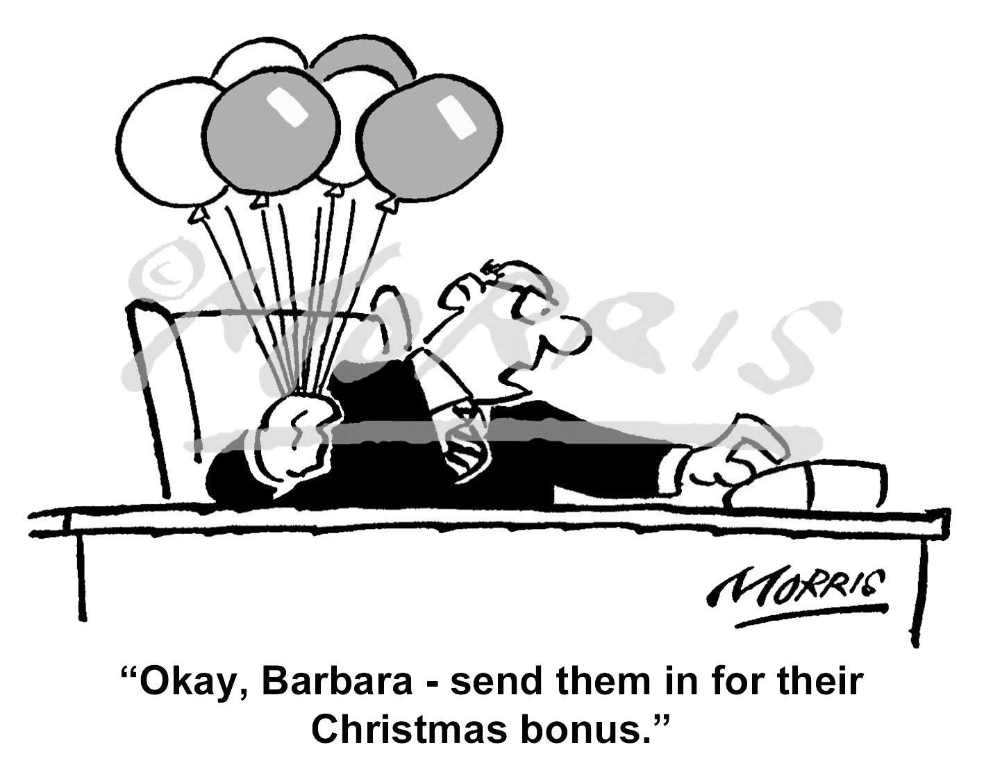 Employees Christmas bonus cartoon: Ref: 1258bw