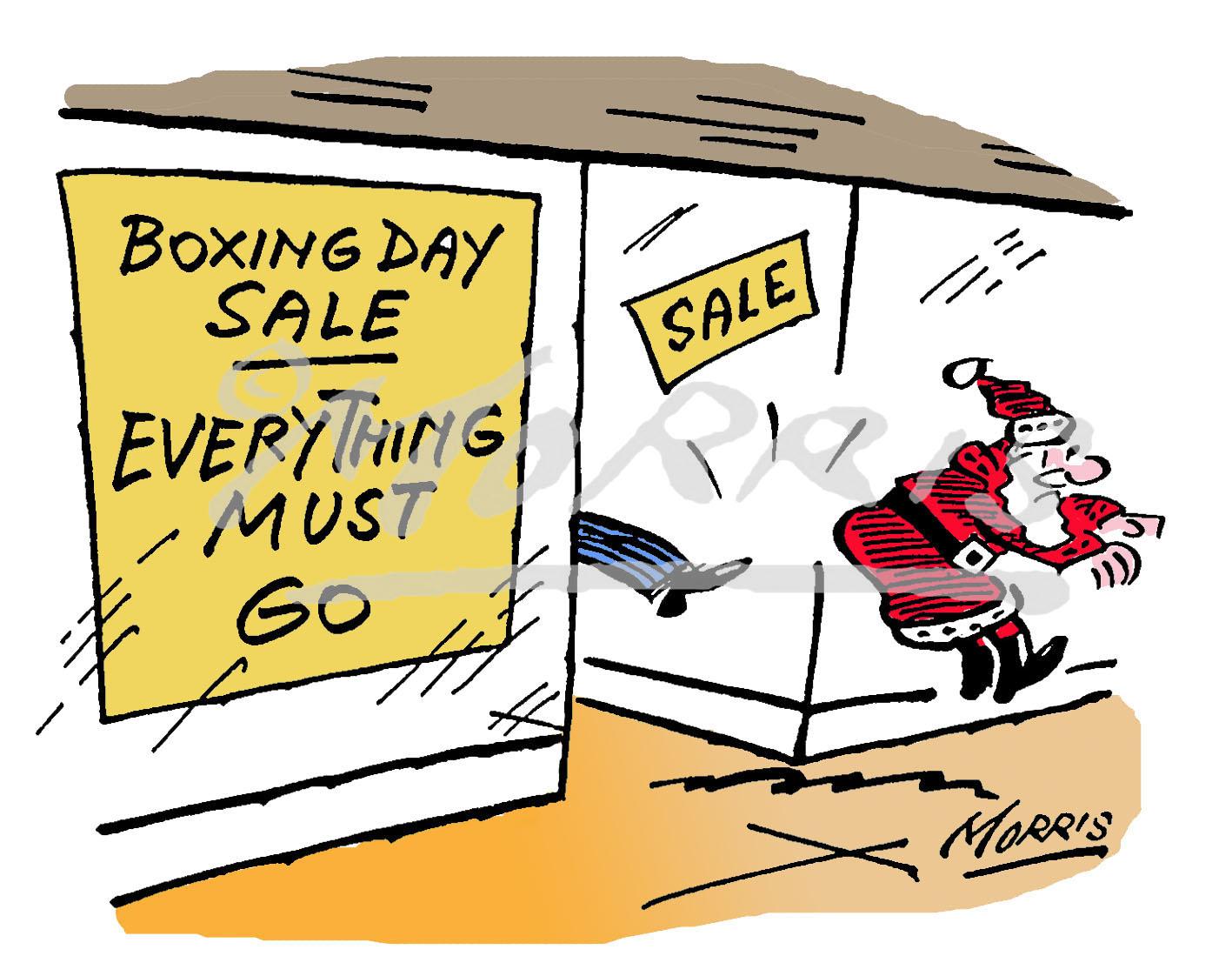 Santa Boxing Day sale cartoon Ref: 1259col