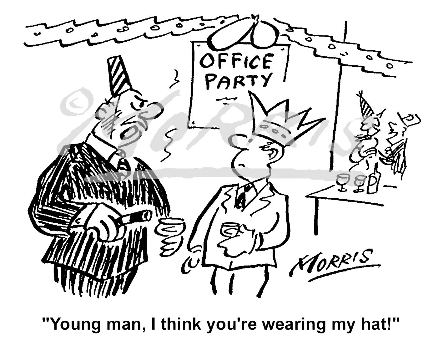 Office Christmas party cartoon Ref: 1261bw