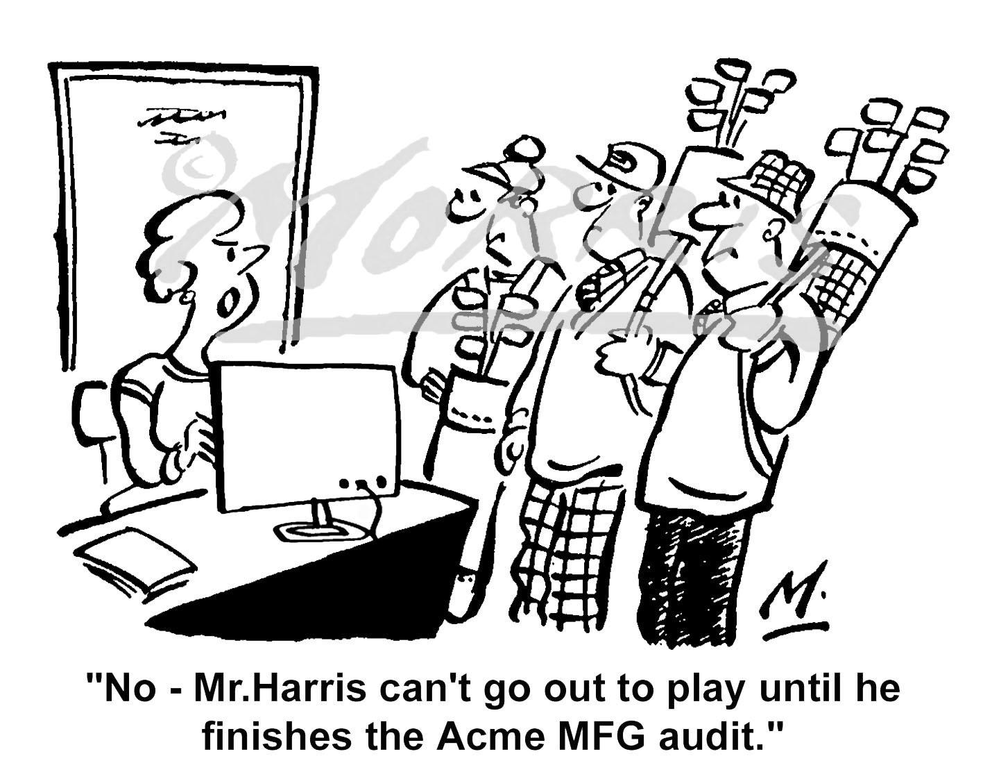 Accountants auditors golf comic cartoons Ref: 1275bw