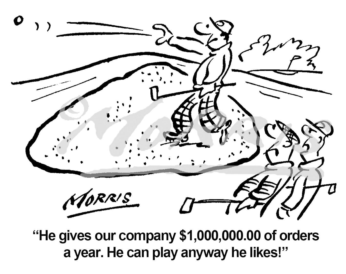 Sales Order golf cartoon Ref: 1280bwus