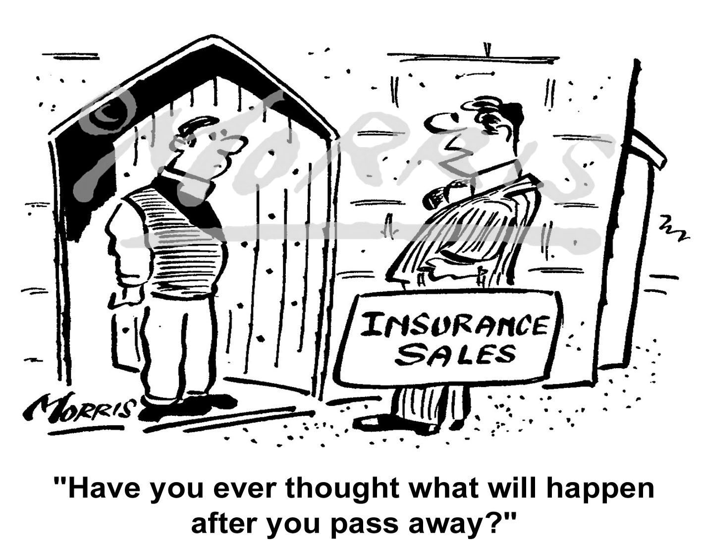 Insurance cartoon, insurance sales cartoon – Ref: 1375bw