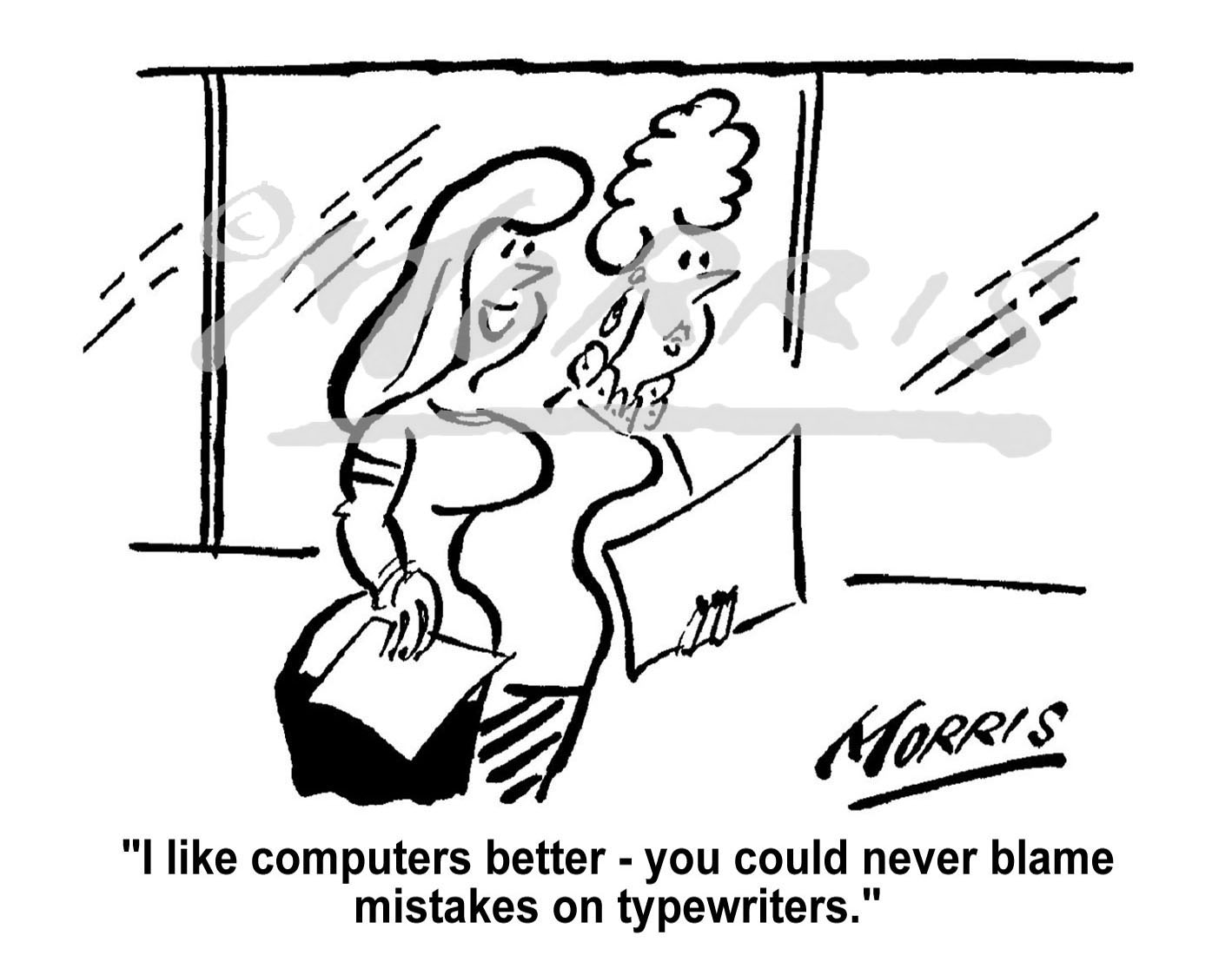 PA computer cartoon Ref: 1388bw