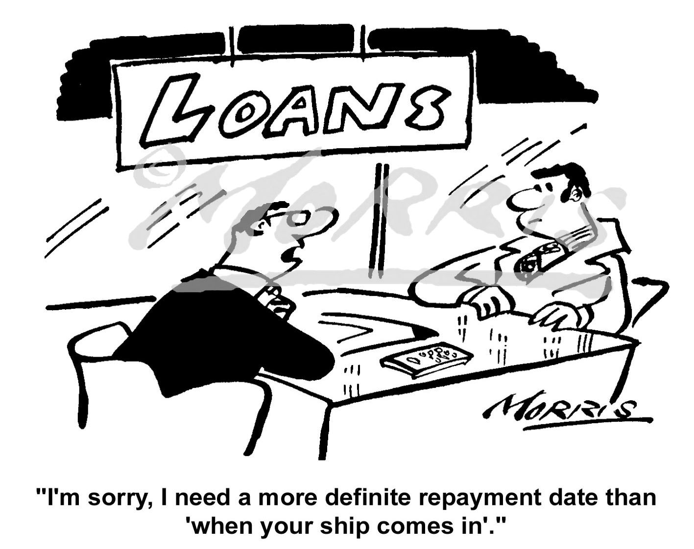 Bank loan cartoon Ref: 1433bw