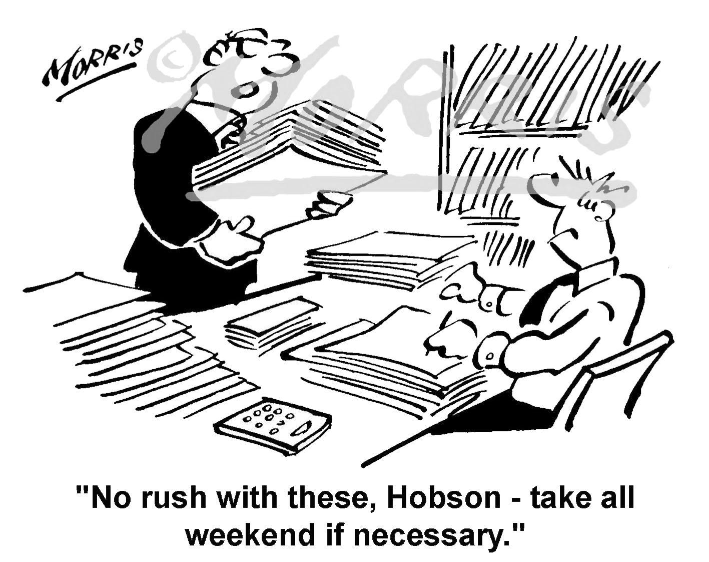 Overworked office employee cartoon Ref: 1436bw