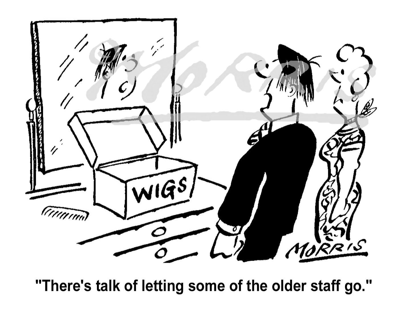 Older staff redundancy cartoon – Ref: 1455bw