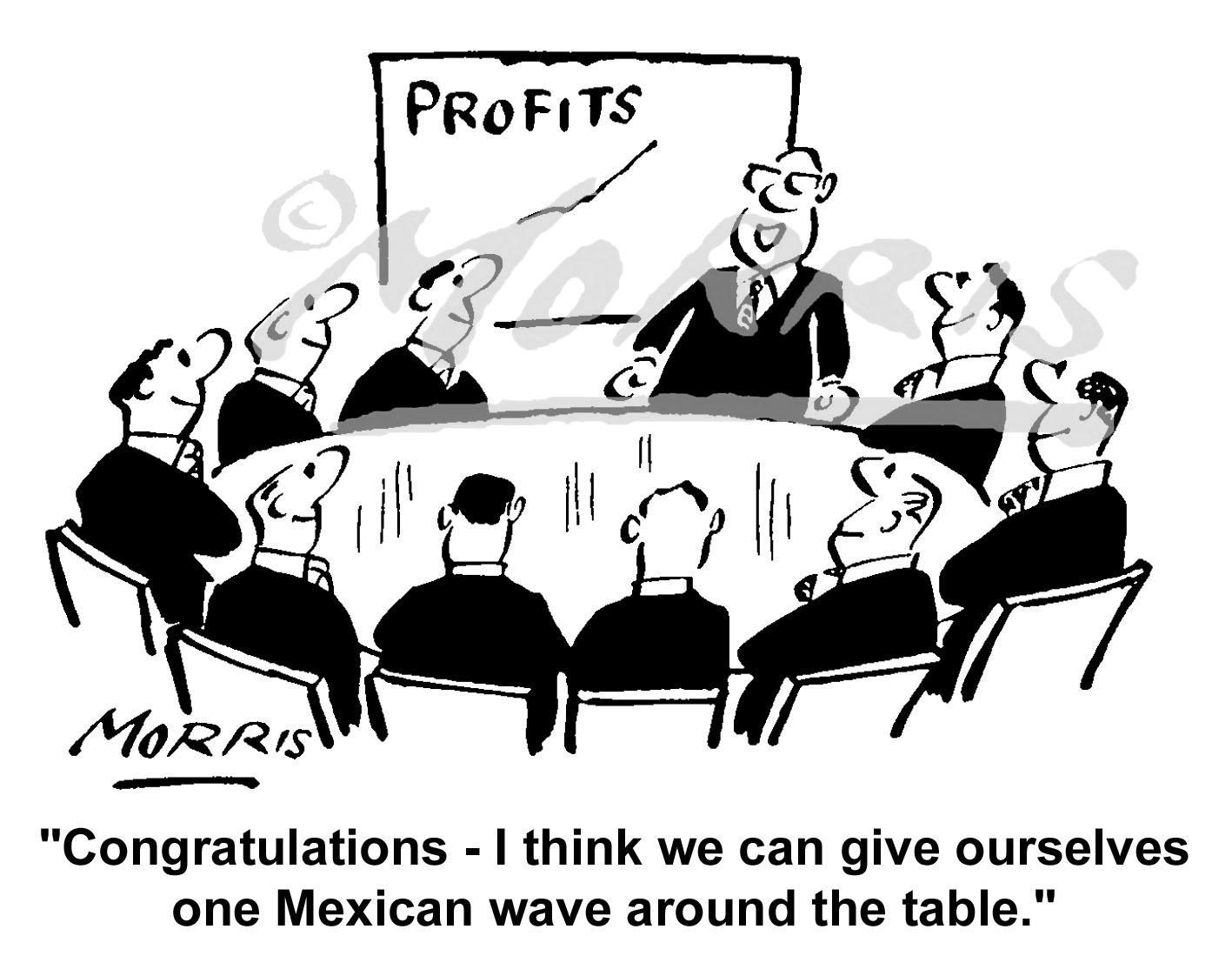 Boardroom profits graph comic cartoon – Ref: 1475bw