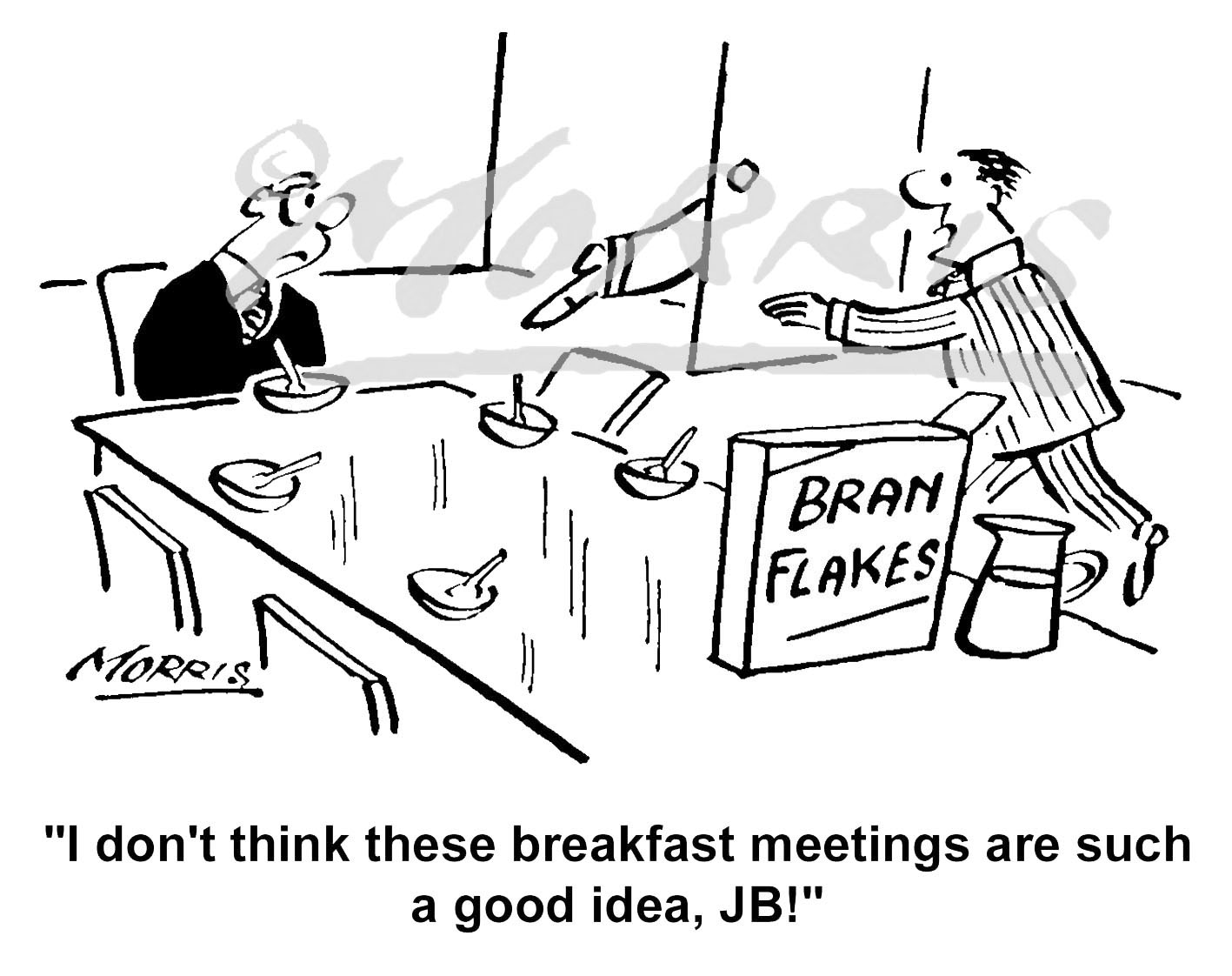 Boardroom cartoon, breakfast meeting cartoon Ref: 1489bw