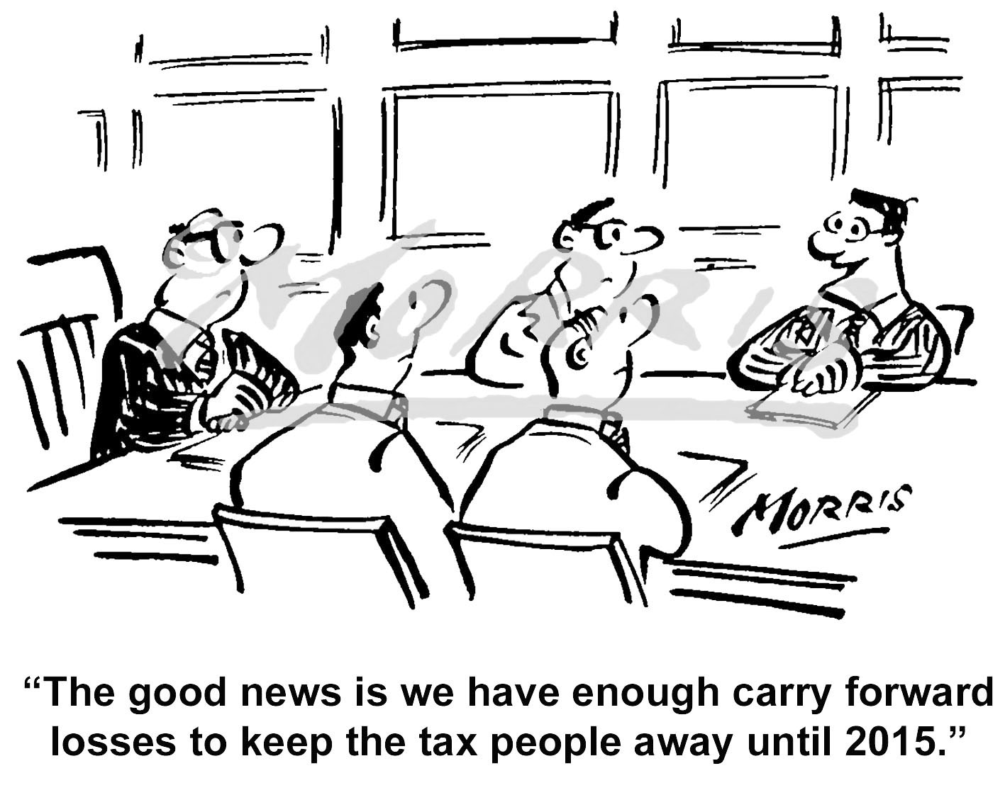 Boardroom meeting tax audit cartoon Ref: 1499bw