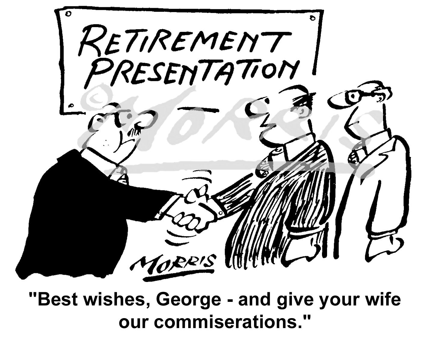 Company employee retirement comic cartoon Ref: 1516bw