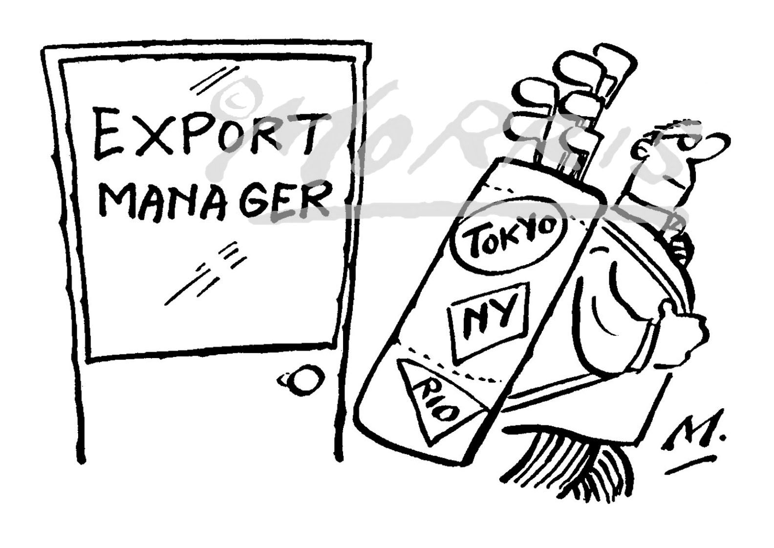 Export manager cartoon, golf cartoon Ref: 1562bw