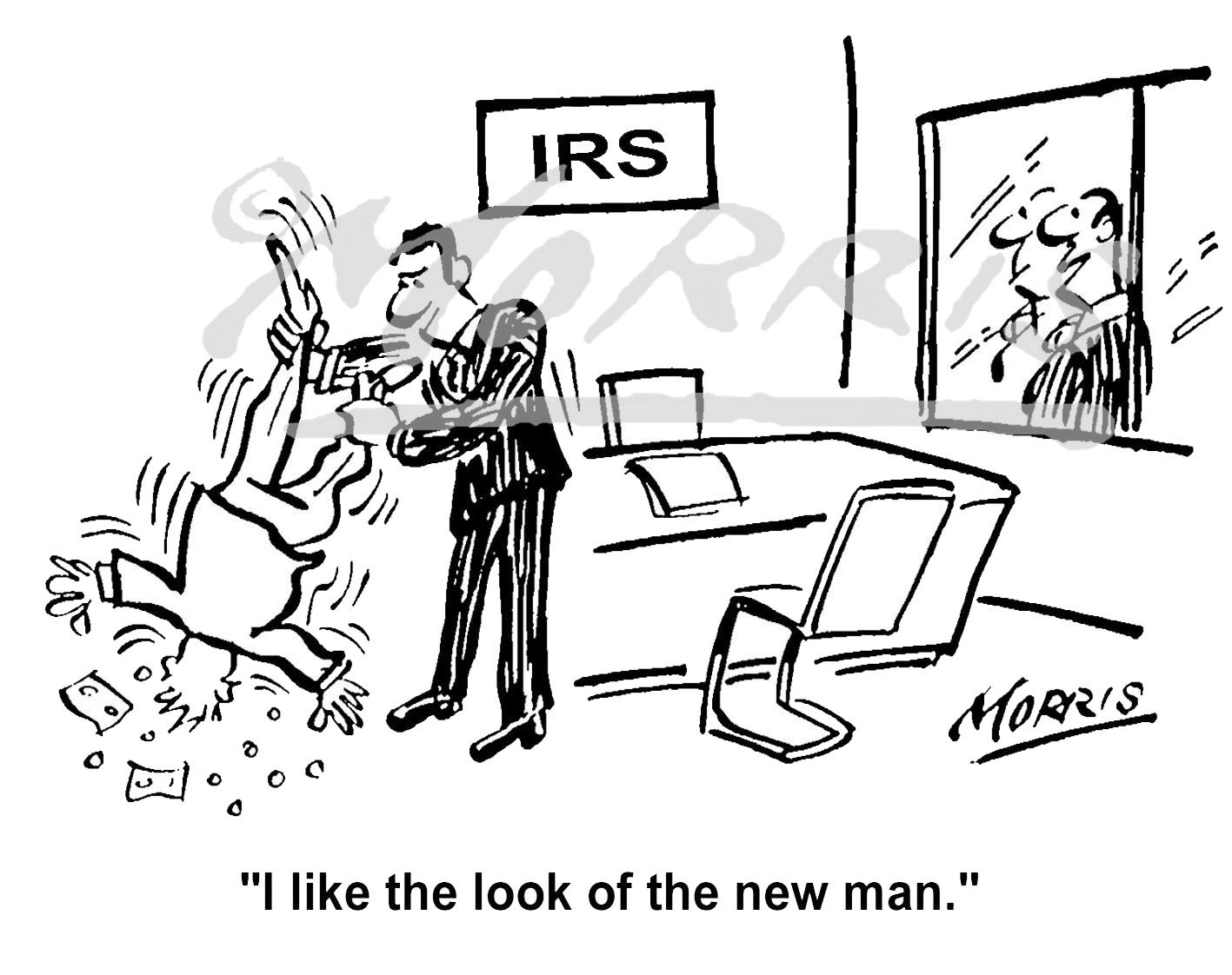 Tax office employee IRS comic cartoon Ref: 1652bwus