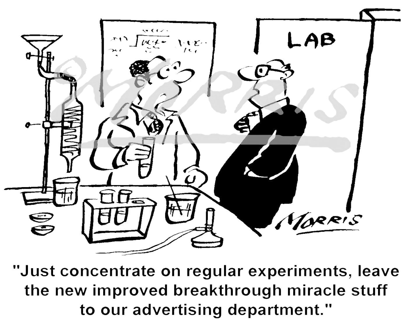 R&D cartoon, advertising cartoon Ref: 1654bw