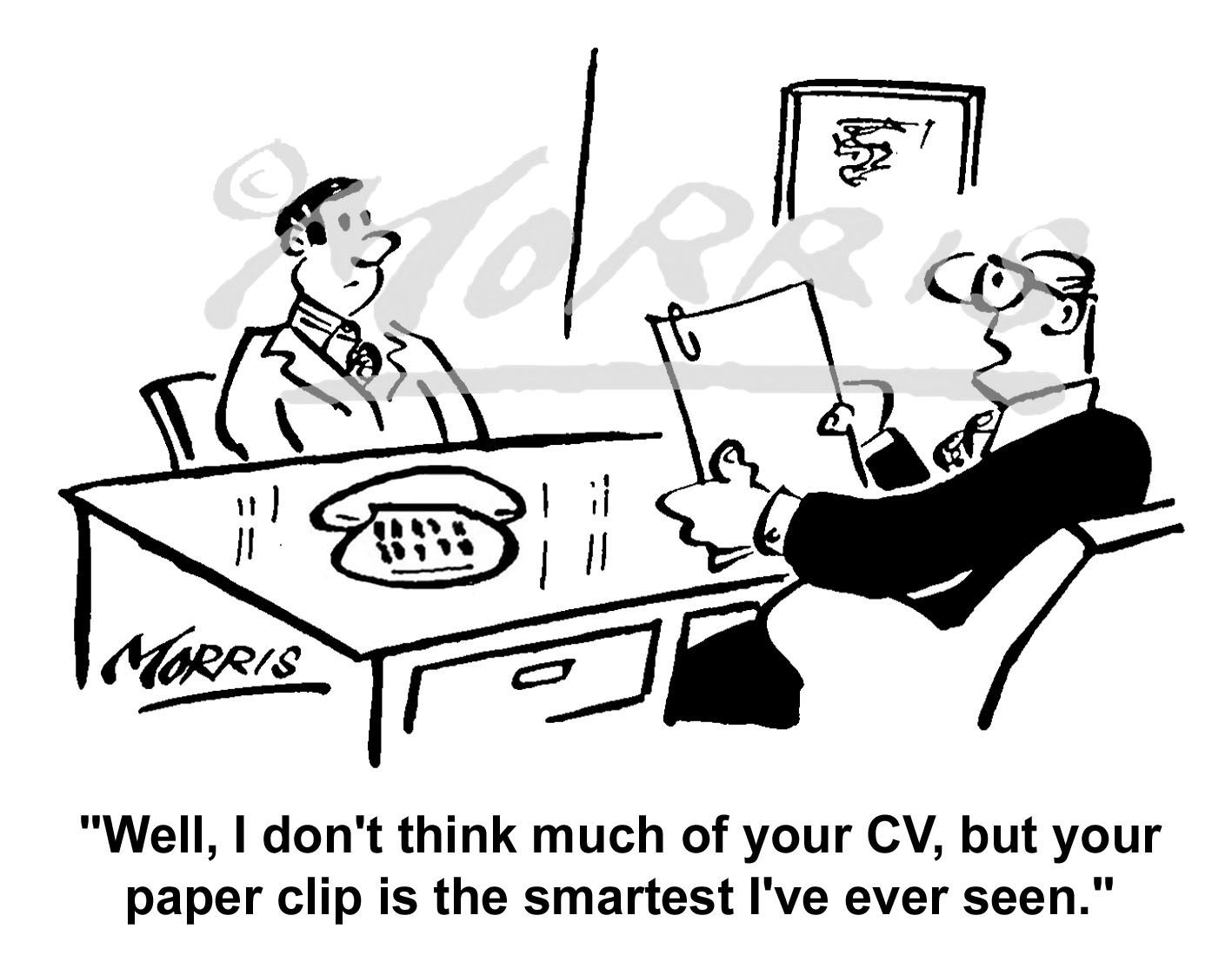 Job interview cartoon, resume comic Ref: 1682bw