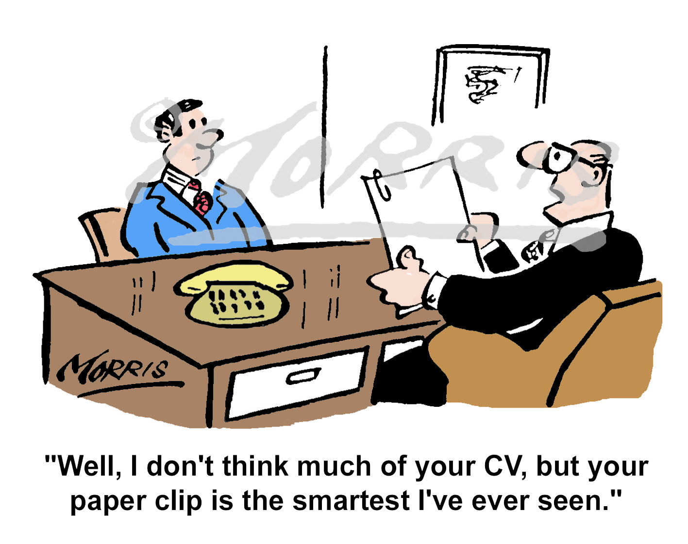 Job interview cartoon, resume comic Ref: 1682col