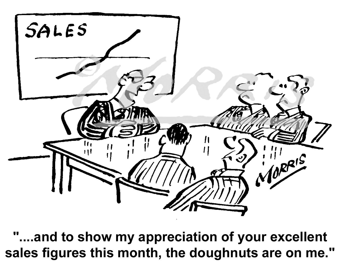 Sales manager cartoon, sales meeting cartoon Ref: 1699bw