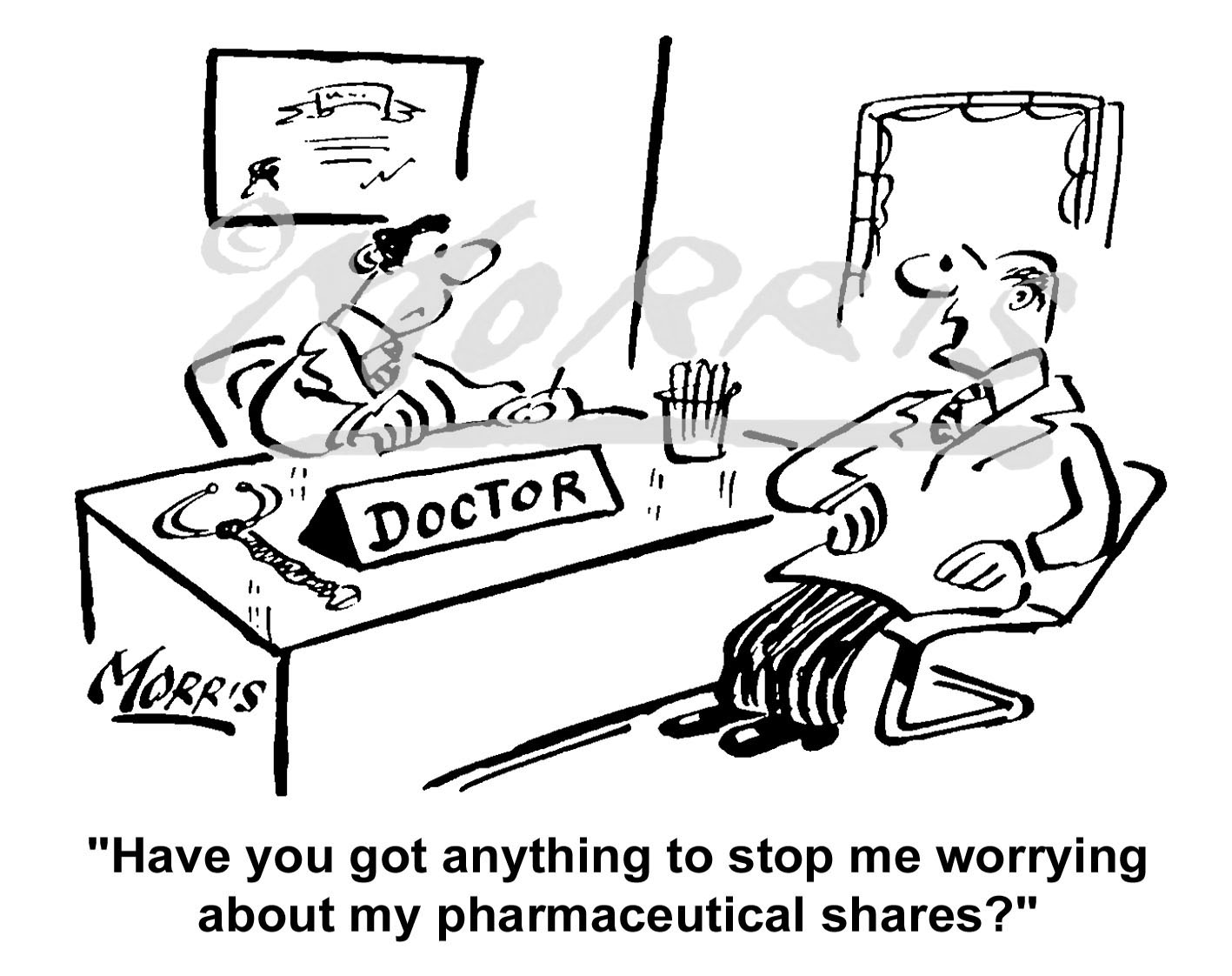 Stock market shares cartoon, medical cartoon, doctor comic Ref: 1722bw