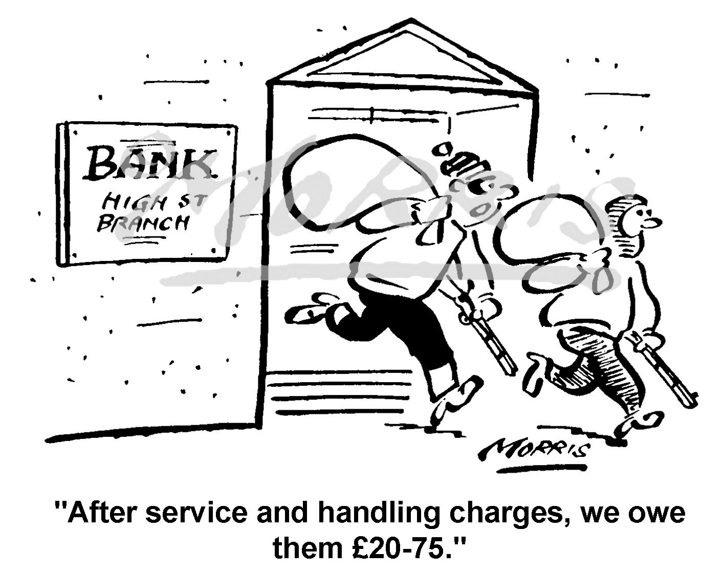 Bank charges cartoon, bank comic – Ref: 1725bw