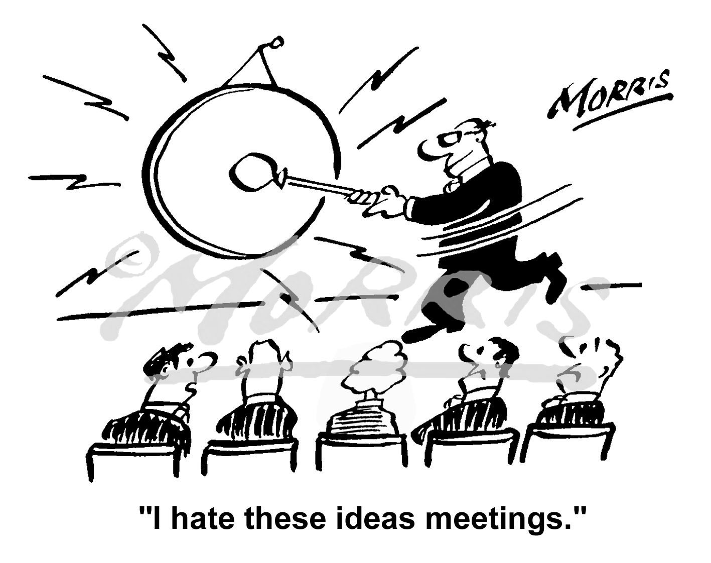 Office meeting cartoon, staff meeting cartoon- Ref: 1731bw