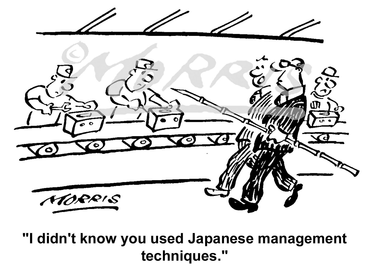 Factory shop floor cartoon, management cartoon Ref: 1752bw