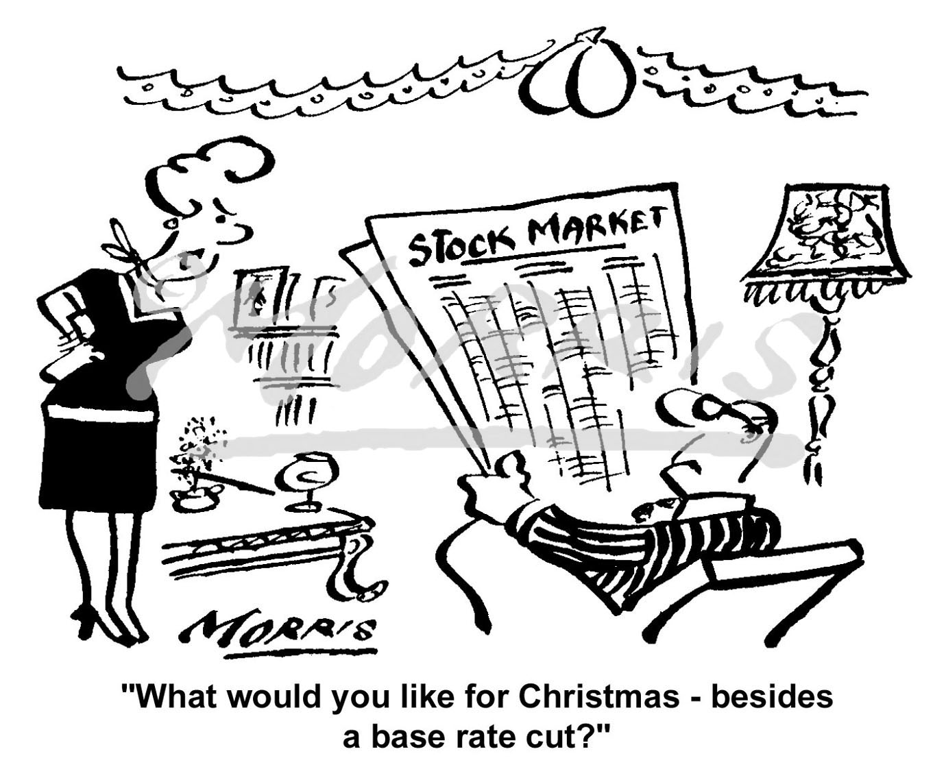 Christmas stock market cartoon Ref: 1915bw