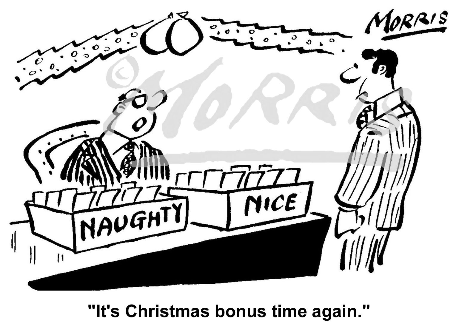 Christmas bonus cartoon Ref: 1919bw
