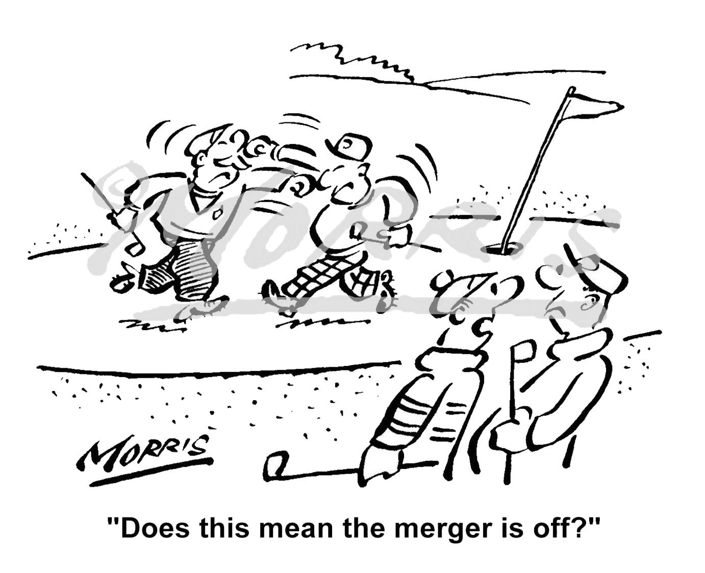Golf business cartoon, golfing cartoon, company merger cartoon, – Ref: 1956bw