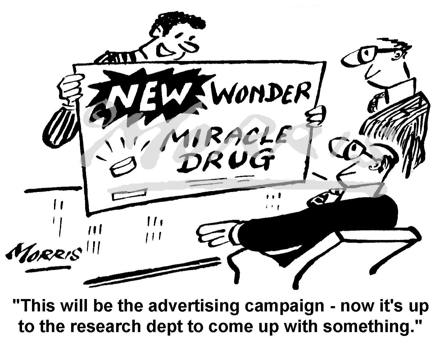 Advertising campaign business cartoon – Ref: 2161bw