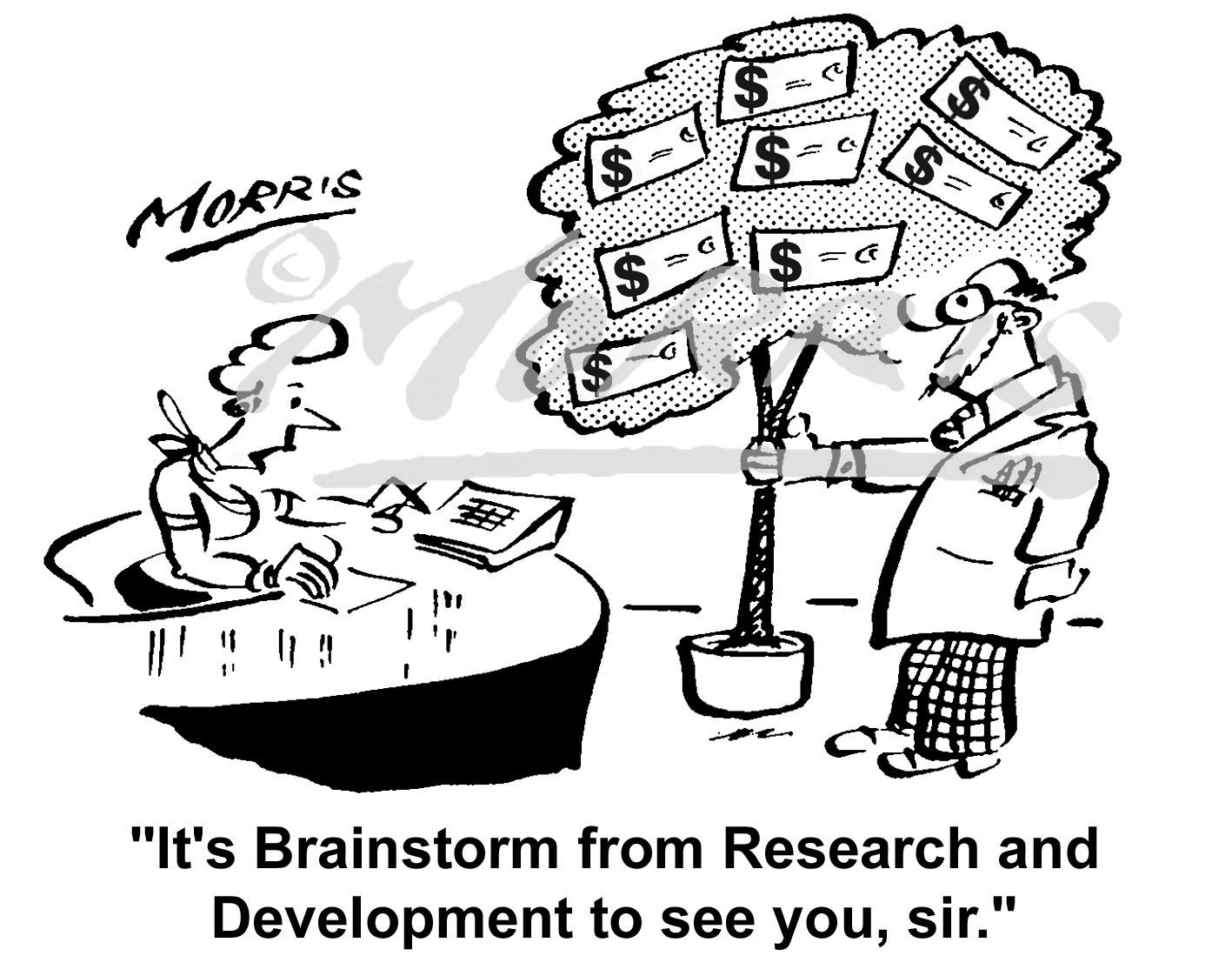 Money tree research development comic cartoon – Ref: 2209bwus