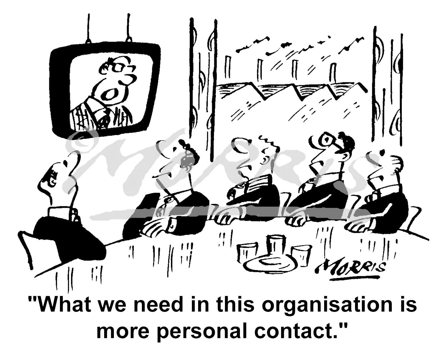 Office communication meeting cartoon – Ref: 2388bw
