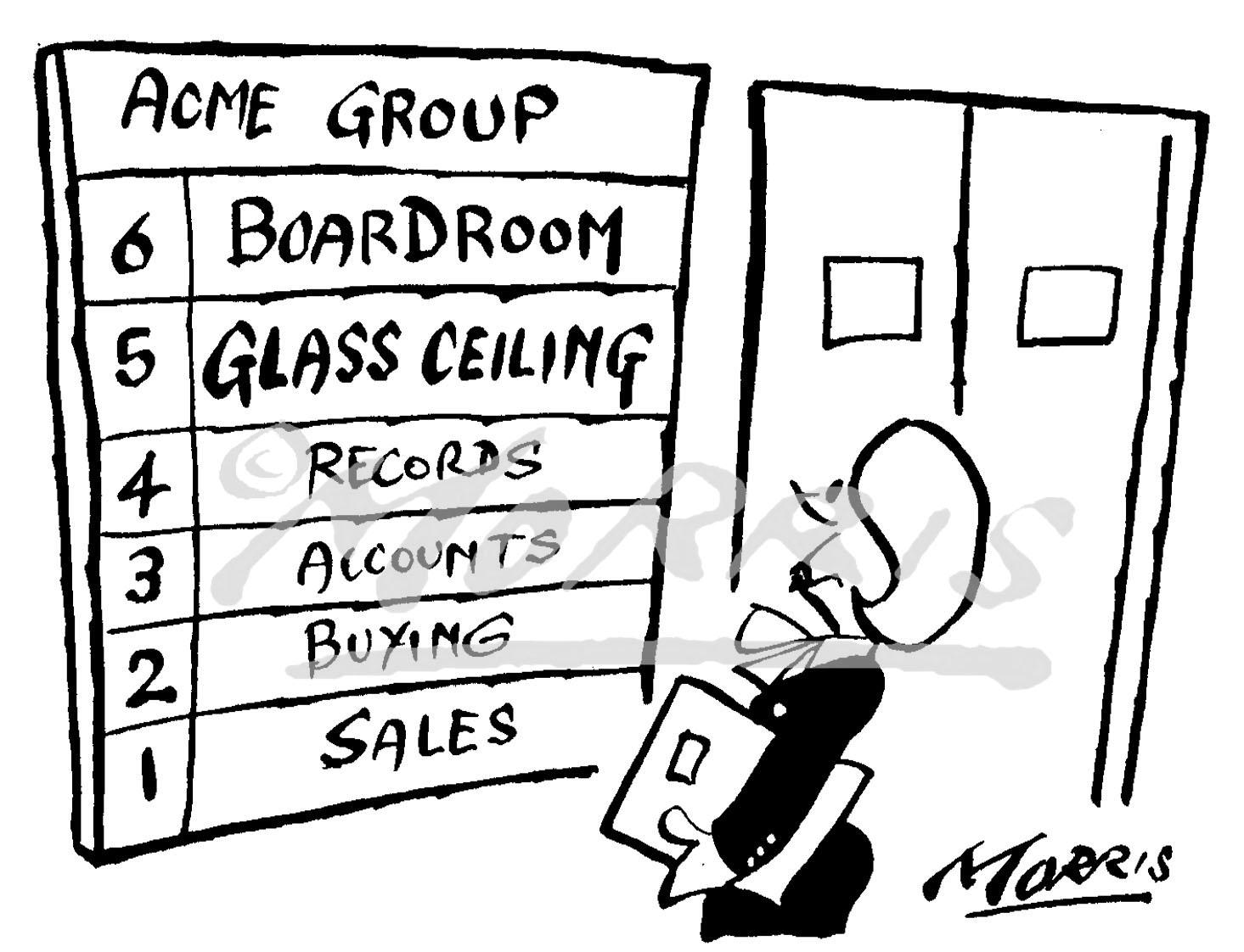 Glass ceiling business cartoon – Ref: 2422bw