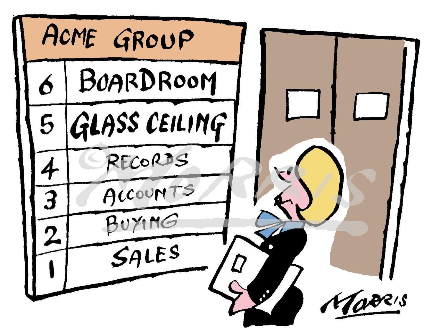 Glass ceiling business cartoon – Ref: 2422col