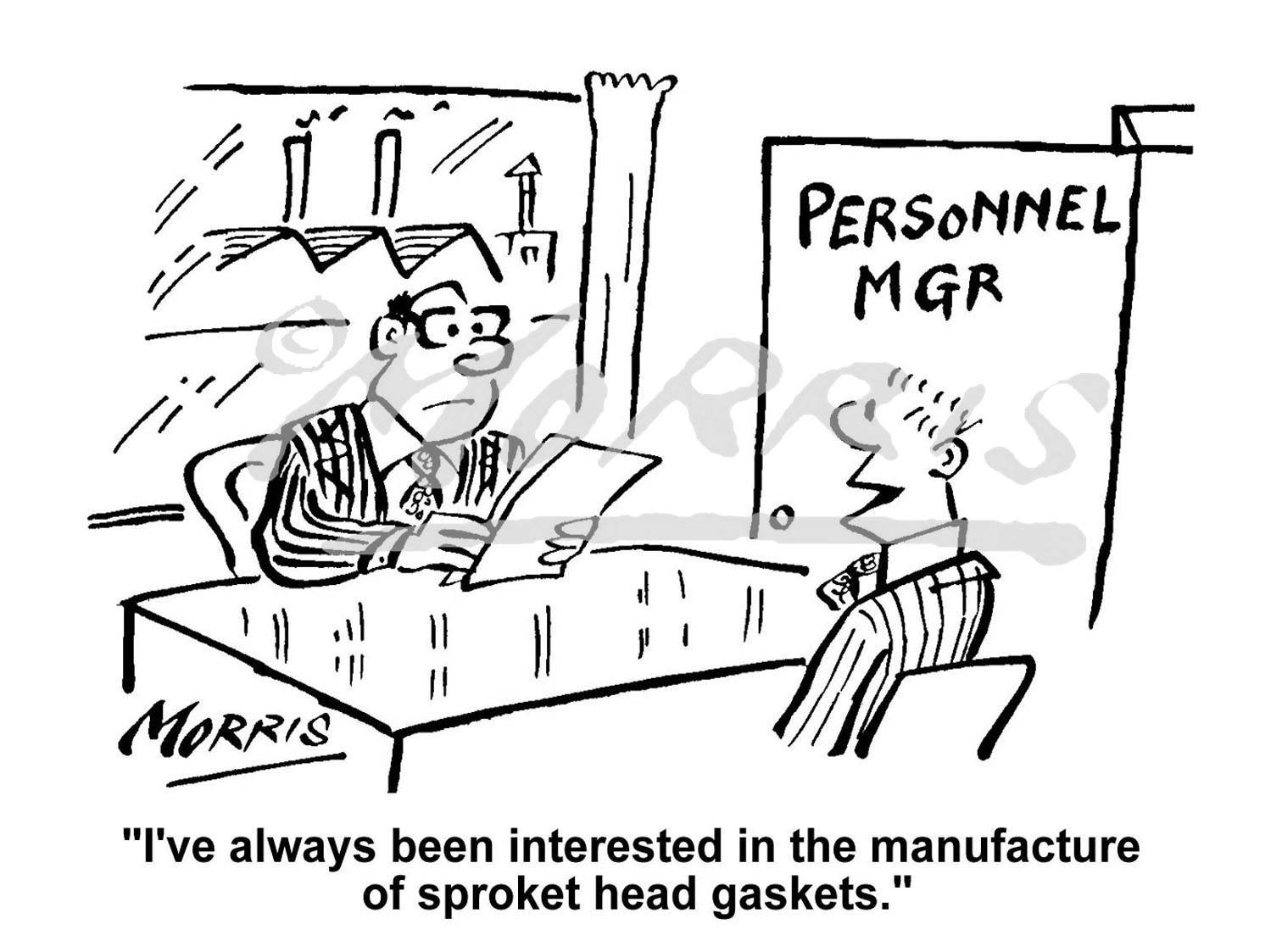 Personnel Manager interview cartoon – Ref: 2838bw