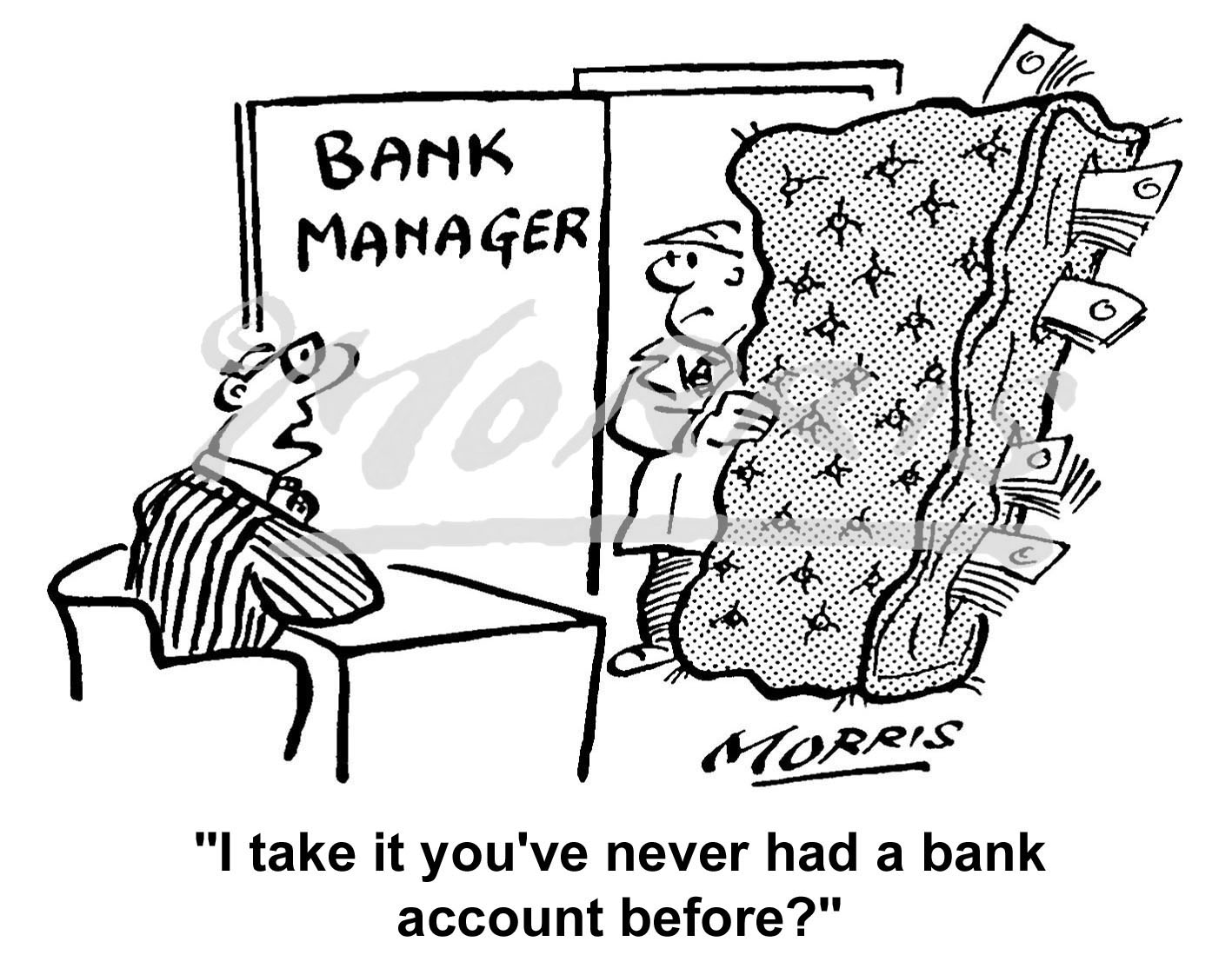 Bank account cartoon – Ref: 2922bw