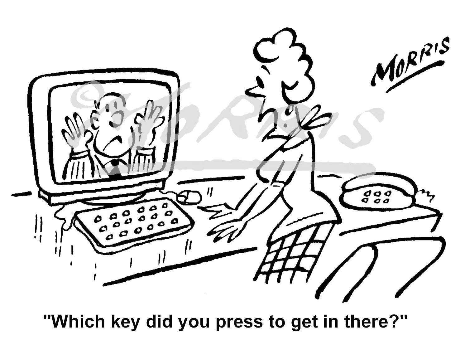 Office computer cartoon, Computer cartoon, Manager cartoon – 2974bw