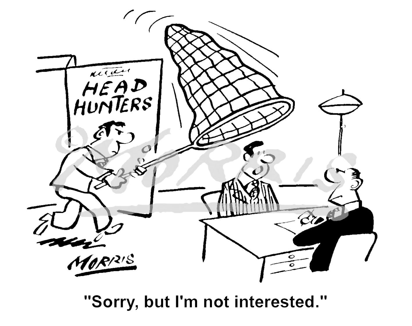 Head hunting business cartoon – Ref: 3003bw