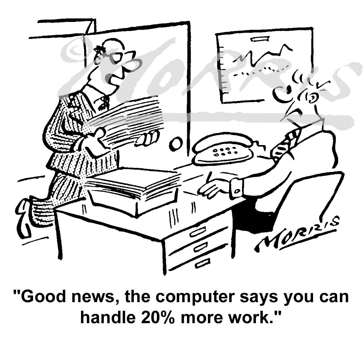 Office manager workload cartoon Ref: 3008bw
