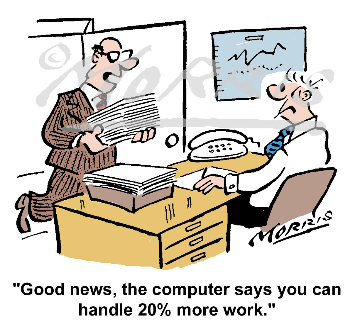Office manager workload cartoon Ref: 3008col