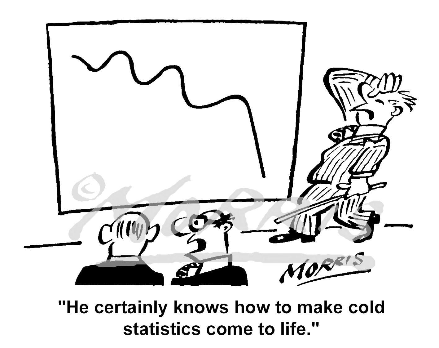 Statistics graphs business cartoon – Ref: – 3146bw