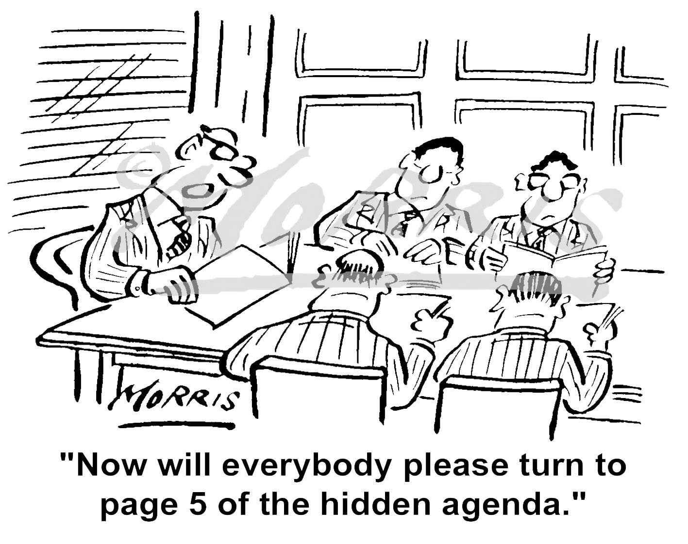 Boardroom agenda meeting cartoon – Ref: 3215bw