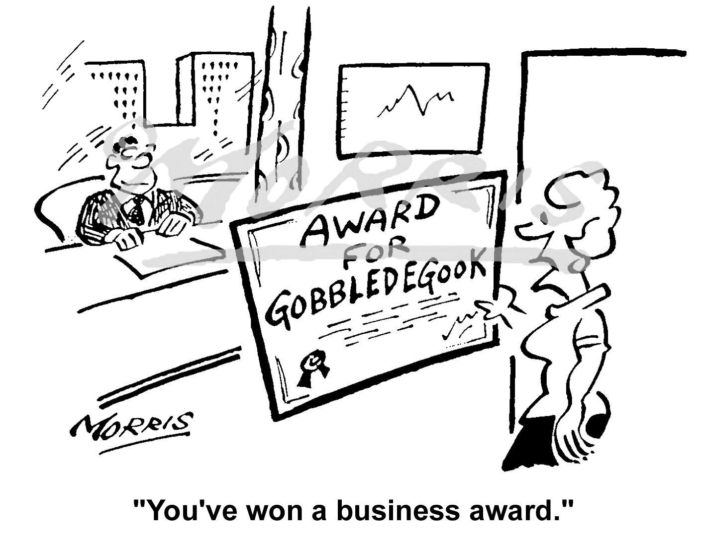 Management cartoon, Business award cartoon, – Ref: 3616bw