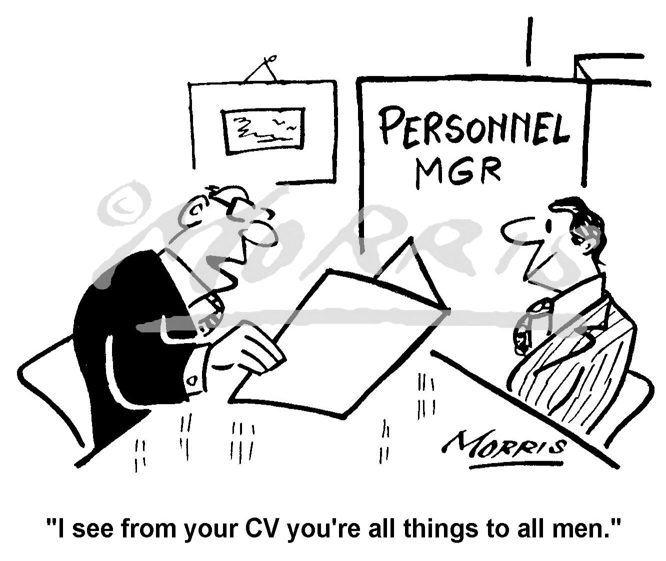 Personnel comic business cartoon – Ref: 3651bw