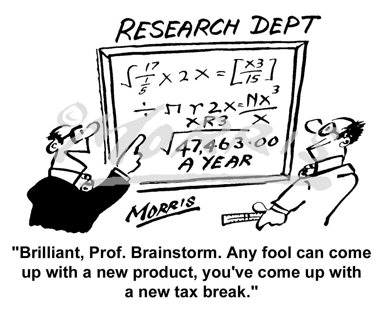 Research comic cartoon, tax cartoon – Ref: 3683bw