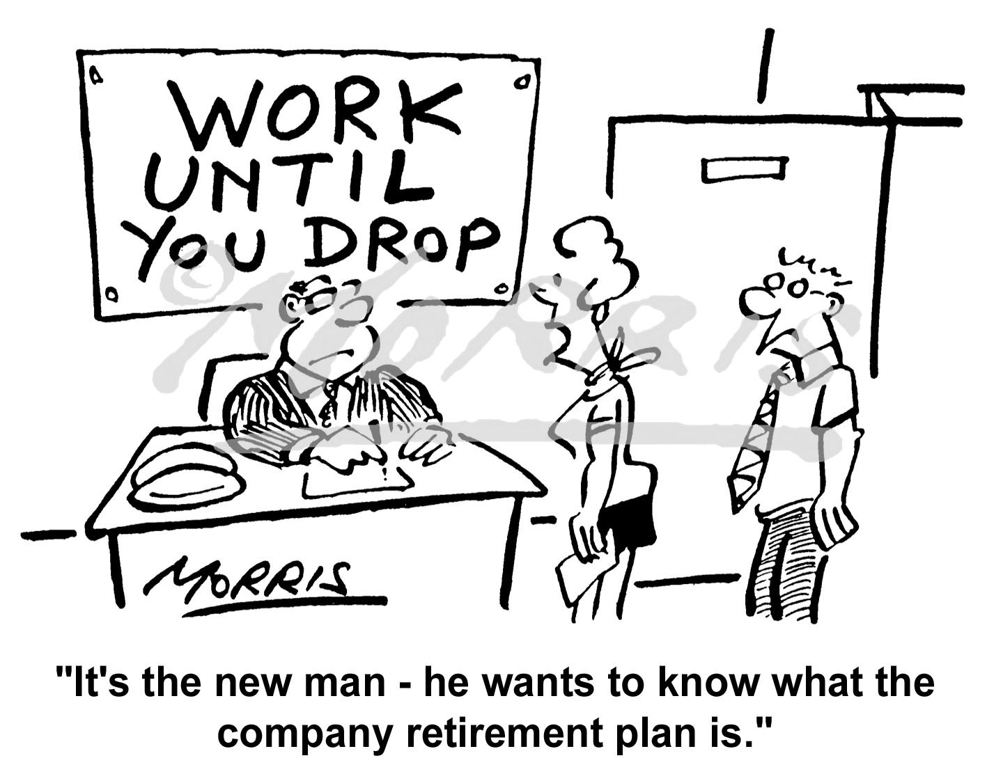 Retirement cartoon, Pension cartoon – Ref: 3741bw