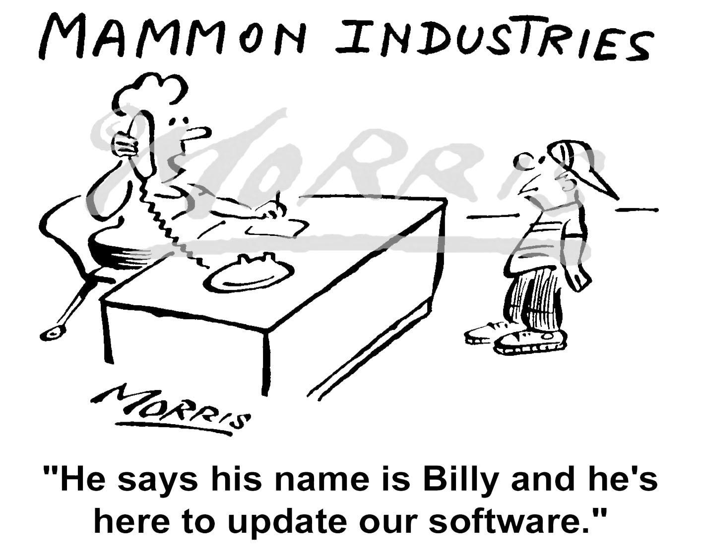 Computer cartoon, Software cartoon – Ref: 3809bw