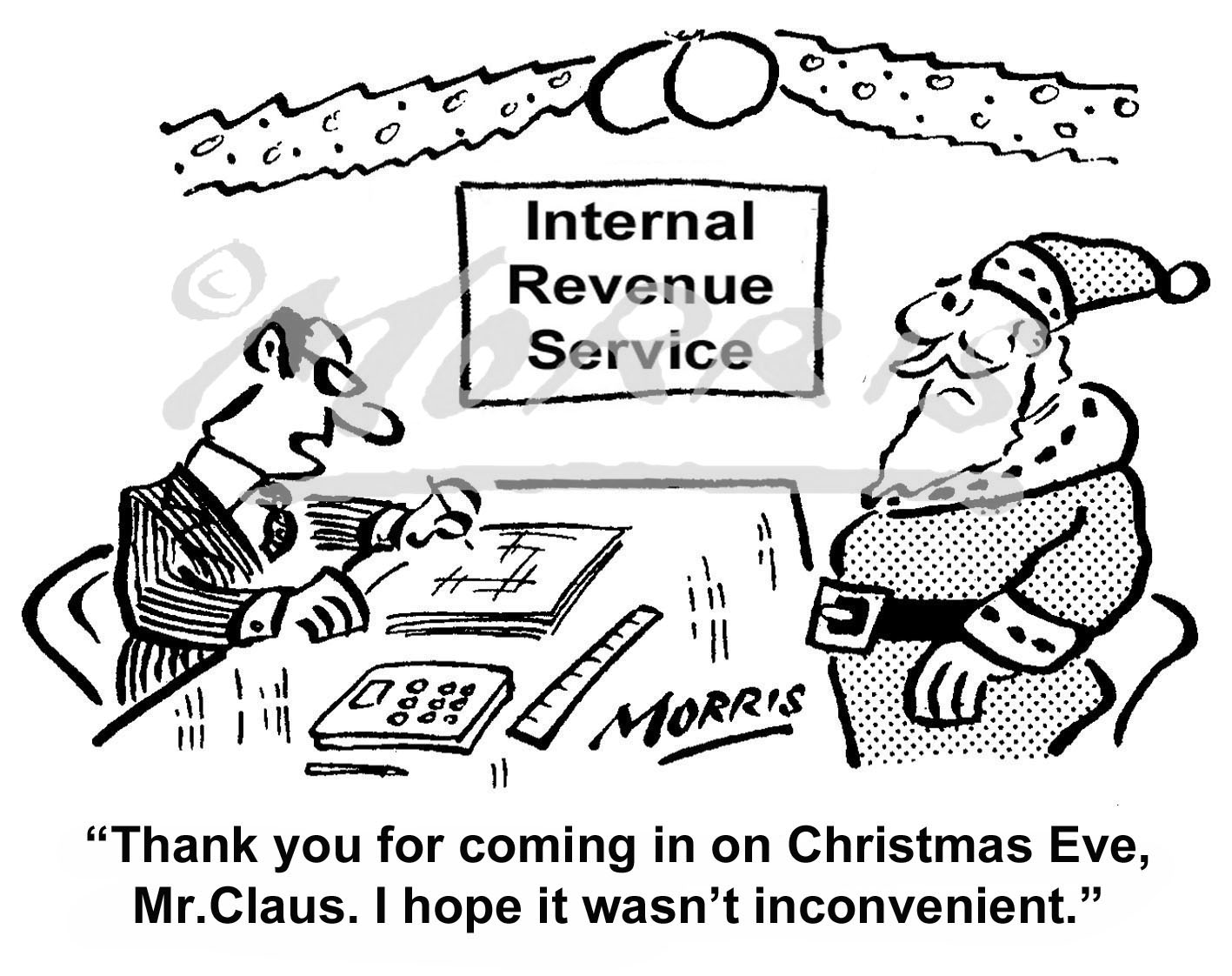 Funny IRS cartoon, Christmas cartoon and Christmas vacation comic cartoon – Ref: 3859bwus