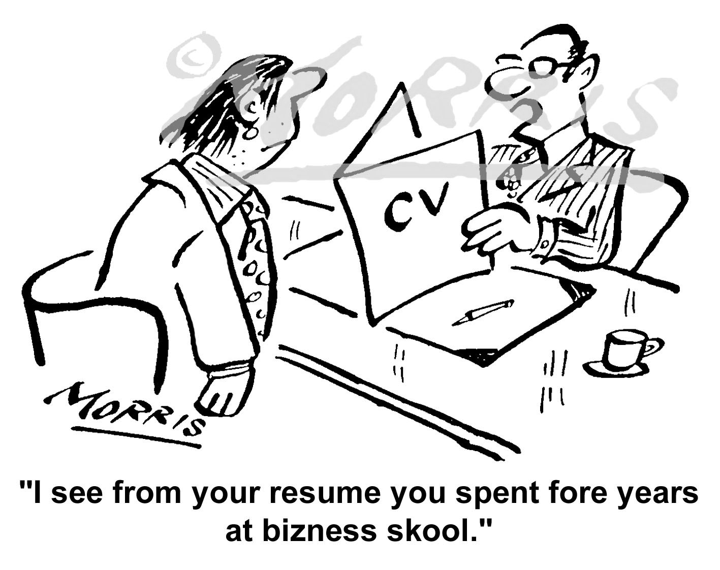 CV cartoon, Resume cartoon, Interview cartoon – Ref: 3863bw